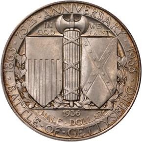 1936 GETTYSBURG 50C MS reverse