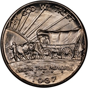 1937 D OREGON TRAIL 50C MS reverse