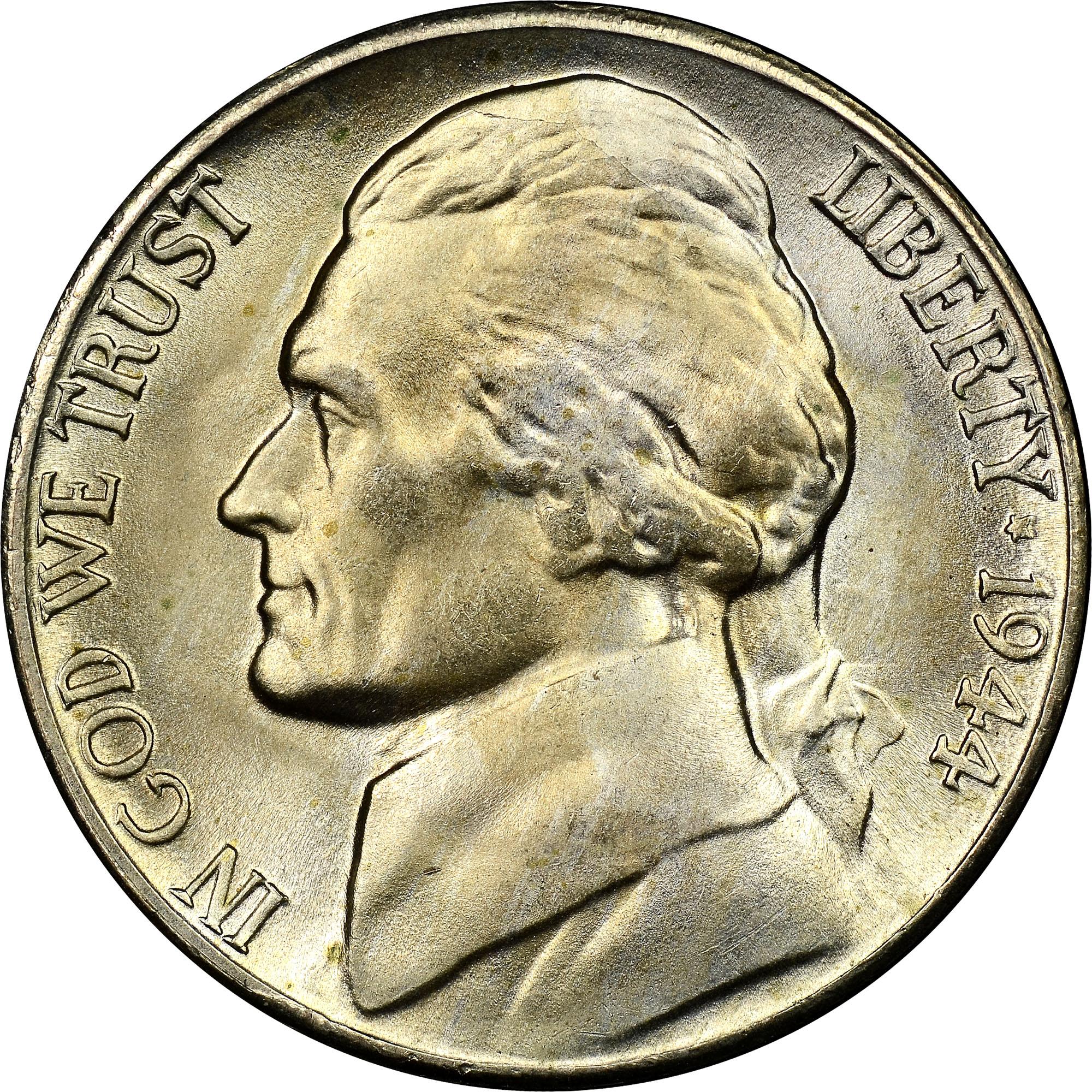 1944 S 5c Ms Jefferson Five Cents Ngc