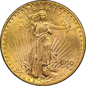 1910 D $20 MS obverse