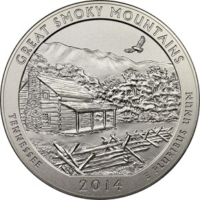 2014 P 5oz SILVER GREAT SMOKY MOUNTAINS 25C SP obverse