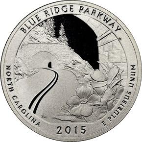 2015 S SILVER BLUE RIDGE 25C PF obverse