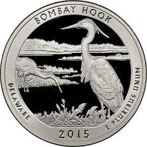 2015 S SILVER BOMBAY HOOK 25C PF obverse