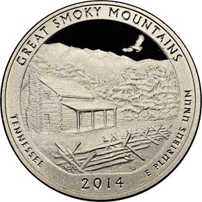 2014 S CLAD GREAT SMOKY MOUNTAINS 25C PF obverse