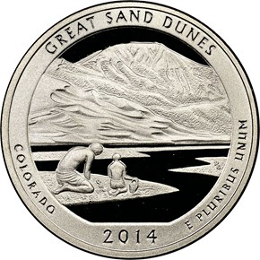 2014 S CLAD GREAT SAND DUNES 25C PF obverse