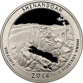 2014 S CLAD SHENANDOAH 25C PF obverse