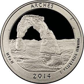 2014 S CLAD ARCHES 25C PF obverse