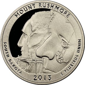 2013 S CLAD MOUNT RUSHMORE 25C PF obverse