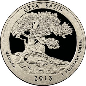 2013 S CLAD GREAT BASIN 25C PF obverse