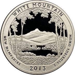 2013 S CLAD WHITE MOUNTAIN 25C PF obverse