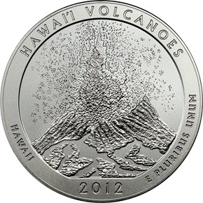 2012 P 5oz SILVER VOLCANOES 25C SP obverse