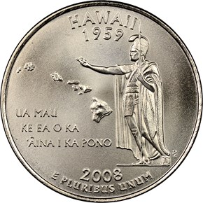 2008 P SMS HAWAII 25C MS obverse