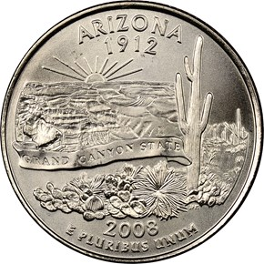 2008 P SMS ARIZONA 25C MS obverse