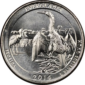 2014 D EVERGLADES 25C MS obverse