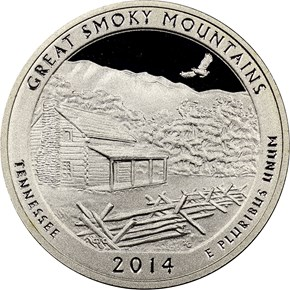2014 S SILVER GREAT SMOKY MOUNTAINS 25C PF obverse