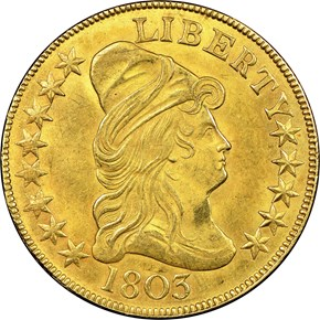 1803 SMALL STARS REV $10 MS obverse