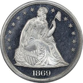1869 J-764 S$1 PF obverse