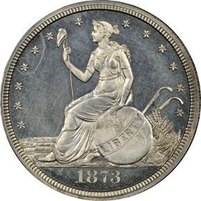 1873 J-1300 T$1 PF obverse