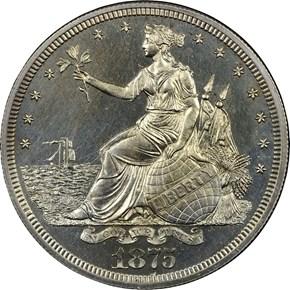 1875 J-1426 T$1 PF obverse