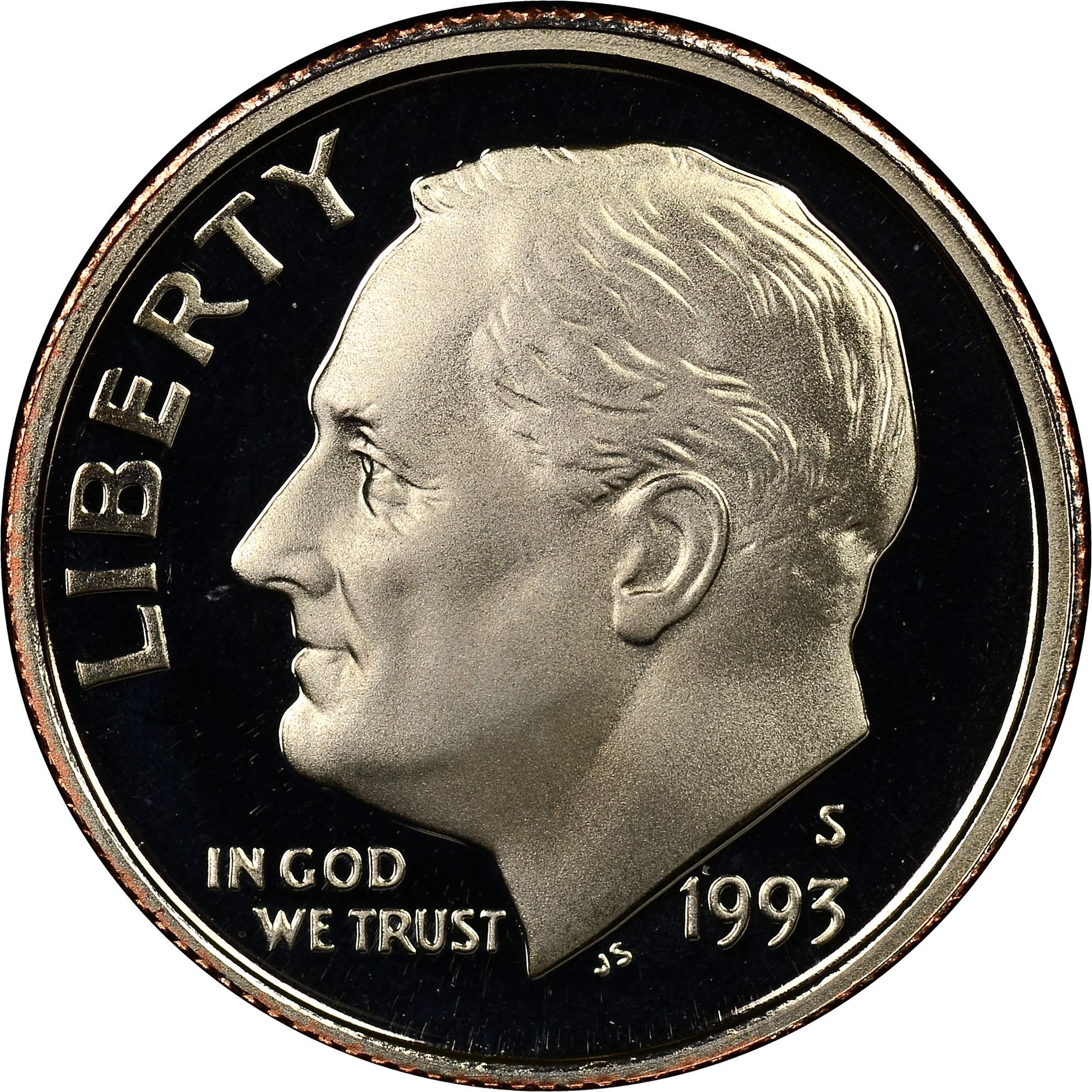 1993 S Clad 10c Pf Roosevelt Dimes Ngc