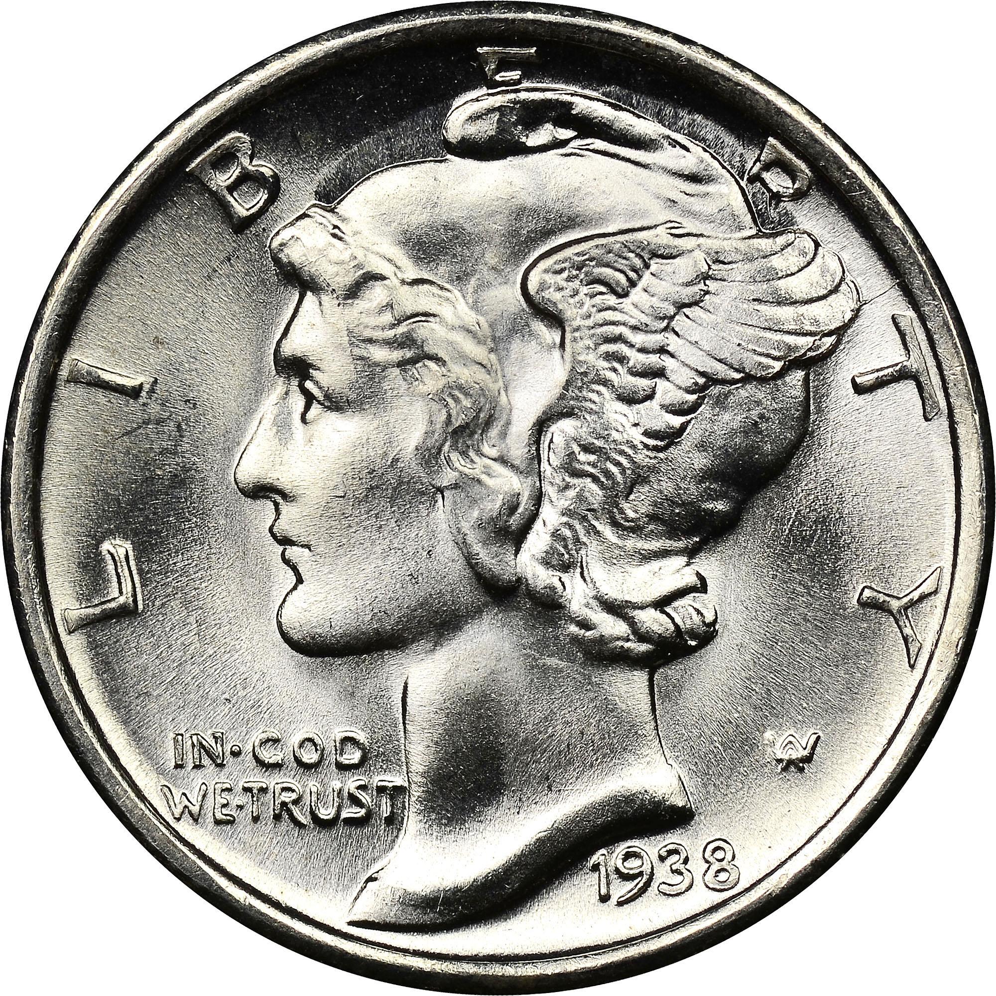 1938 D 10c Mercury Silver Dime US Coin Average Circulated