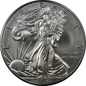 2014 W EAGLE BURNISHED SILVER EAGLE S$1 MS obverse