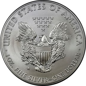 2014 W EAGLE BURNISHED SILVER EAGLE S$1 MS reverse