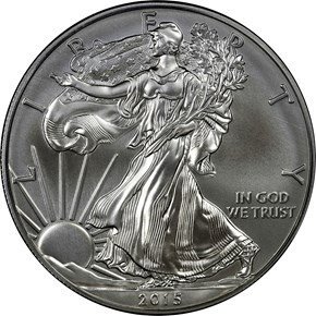 2015 W EAGLE BURNISHED SILVER EAGLE S$1 MS obverse