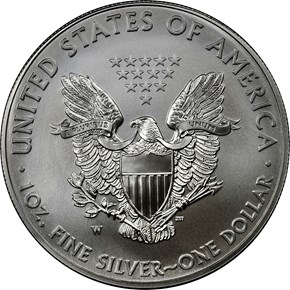 2015 W EAGLE BURNISHED SILVER EAGLE S$1 MS reverse
