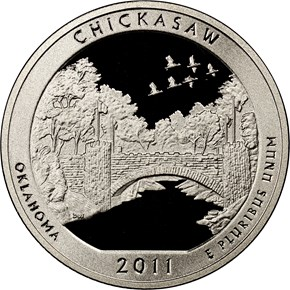 2011 S CLAD CHICKASAW 25C PF obverse