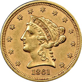 1861 TYPE 1 $2.5 MS obverse