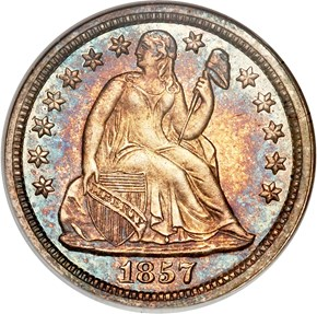 1857 10C PF obverse
