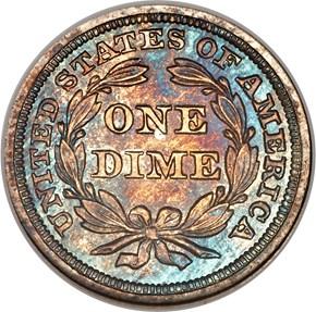 1857 10C PF reverse