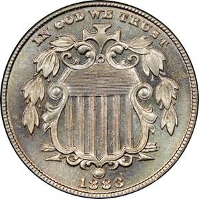 1883 SHIELD 5C PF obverse