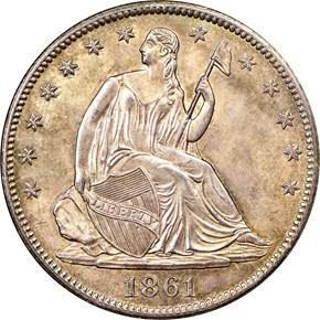 1861 O 50C MS obverse