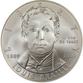 2009 P LOUIS BRAILLE S$1 MS obverse