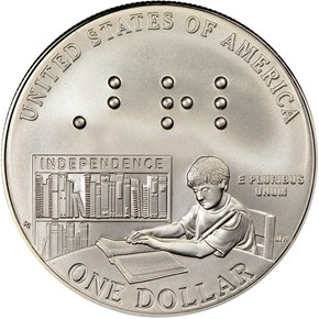 2009 P LOUIS BRAILLE S$1 MS reverse