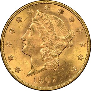1907 S $20 MS obverse
