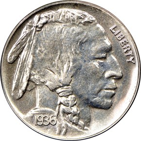 1936 BRILLIANT 5C PF obverse