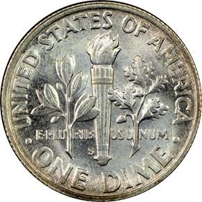 1947 S 10C MS reverse