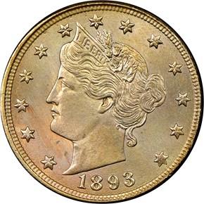 1893 5C MS obverse