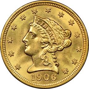1906 $2.5 MS obverse