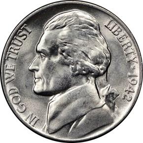 1942 P SILVER 5C MS obverse