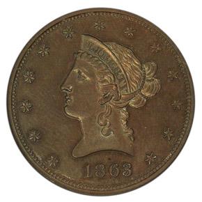 1863 J-350 $10 PF obverse