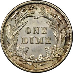 1892 S 10C MS reverse