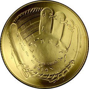 2014 W BASEBALL HALL OF FAME $5 MS obverse