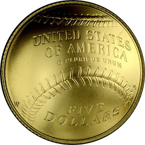 2014 W BASEBALL HALL OF FAME $5 MS reverse