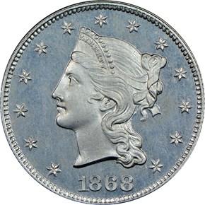 1868 J-663 $10 PF obverse