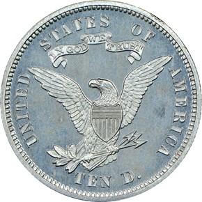1868 J-663 $10 PF reverse