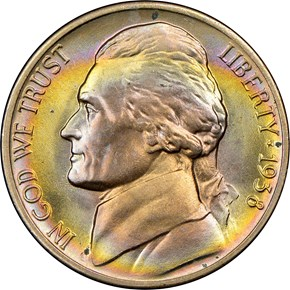 1938 D JEFFERSON 5C MS obverse